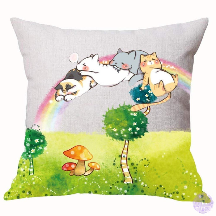 Cartoon Cat And Mouse Decorated Throw Pillow Covers 6