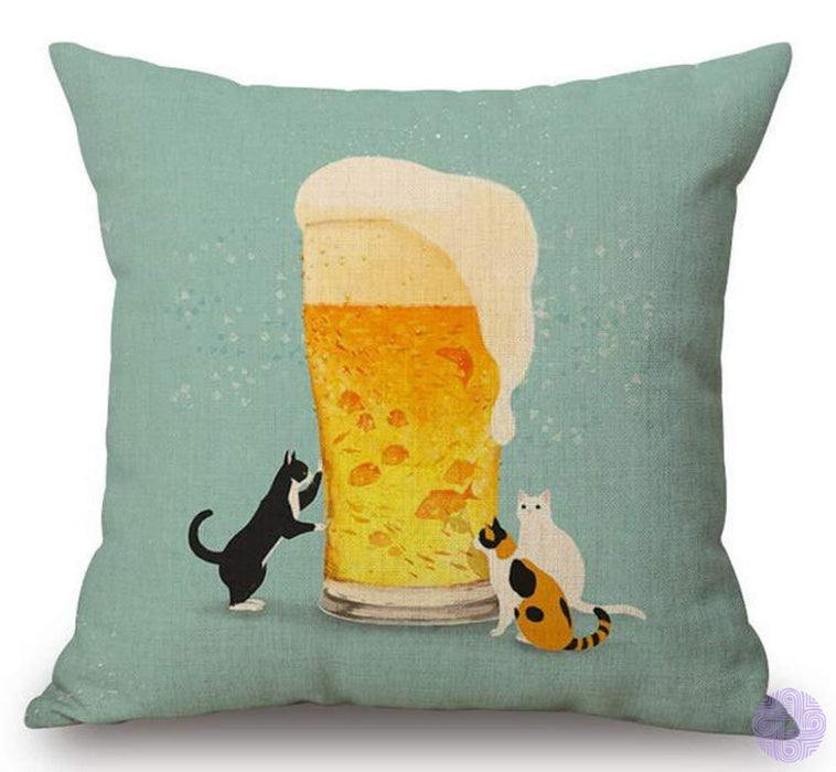 Cartoon Painted Lovely Animal Adorable Cat Beer Fish Funny Daily Life Cotton Linen Decorative Throw