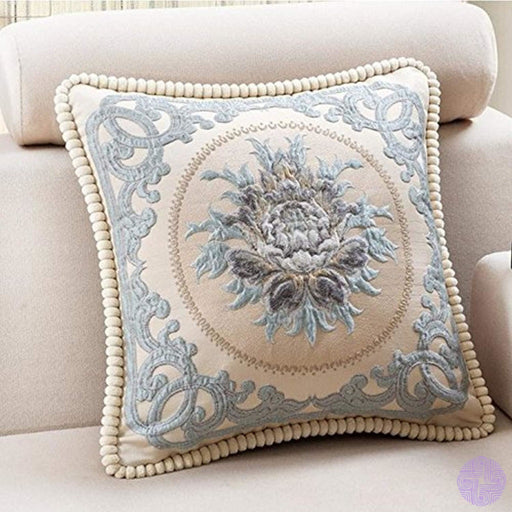 Classic Jacquard Embroidery Decorative Cotton Linen Throw Pillow Cover 20X20 1 Piece Pattern3