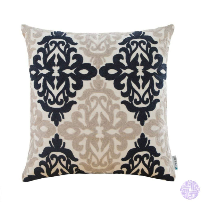 Colorful Medallion Style Throw Pillow Covers Blue And Light Grey