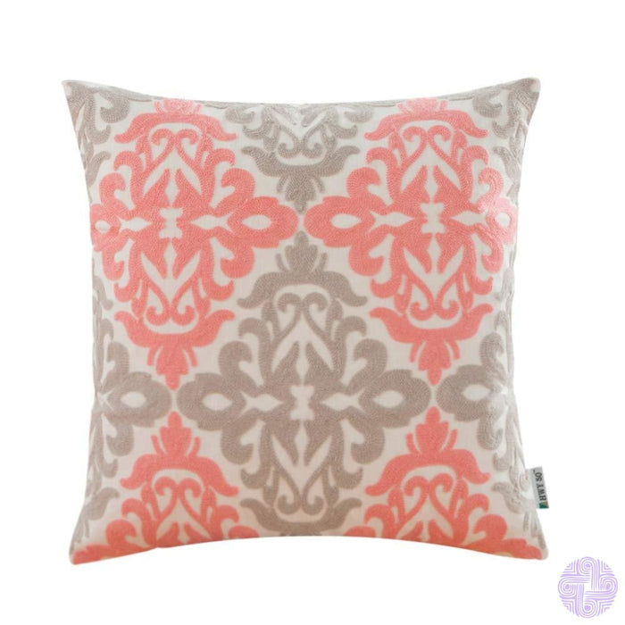 Colorful Medallion Style Throw Pillow Covers Coral Pink And Light Grey