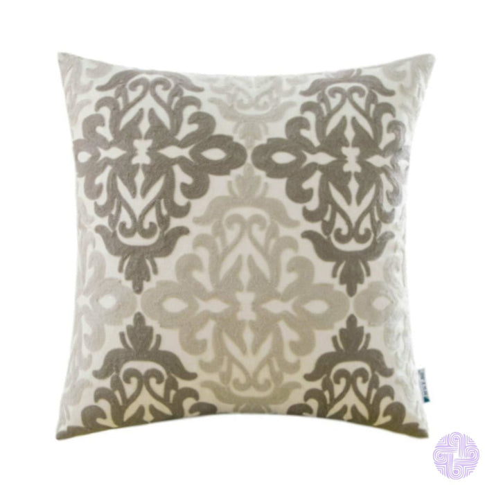 Colorful Medallion Style Throw Pillow Covers Deep Grey And Light Gray