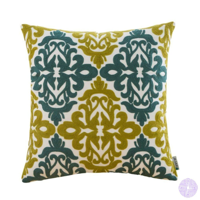 Colorful Medallion Style Throw Pillow Covers Green Blue