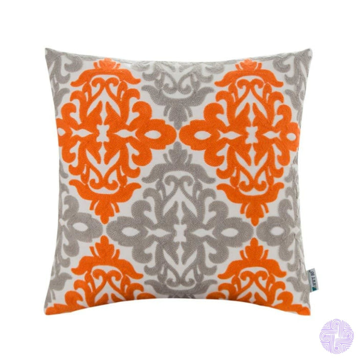 Colorful Medallion Style Throw Pillow Covers Orange And Light Grey