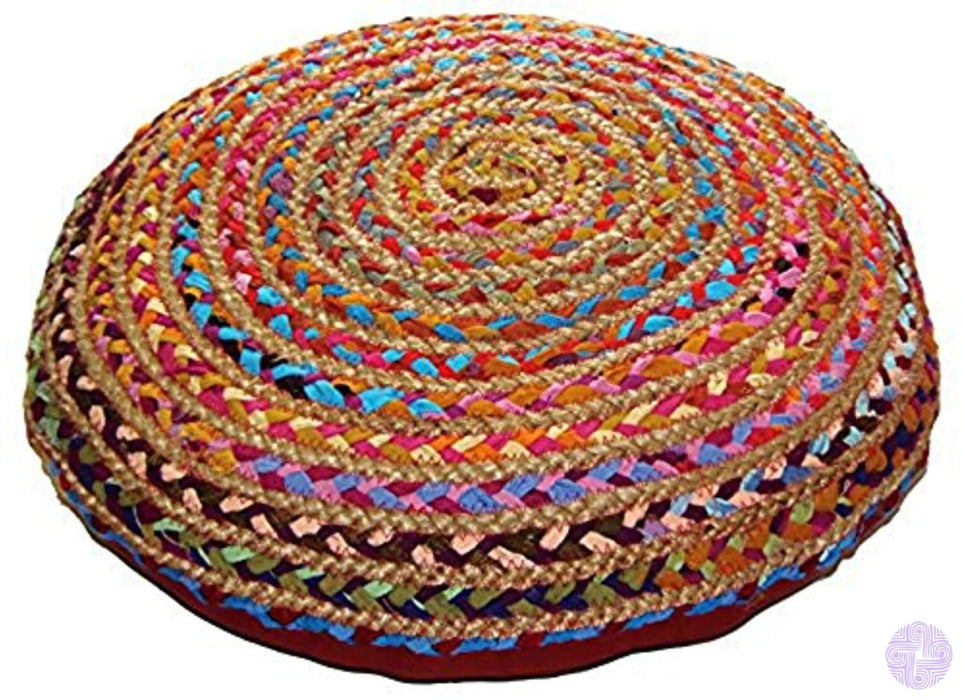 Cotton Craft - Jute & Multi Chindi Braid Floor Pillow Handwoven From Multi-Color Vibrant Fabric Rags