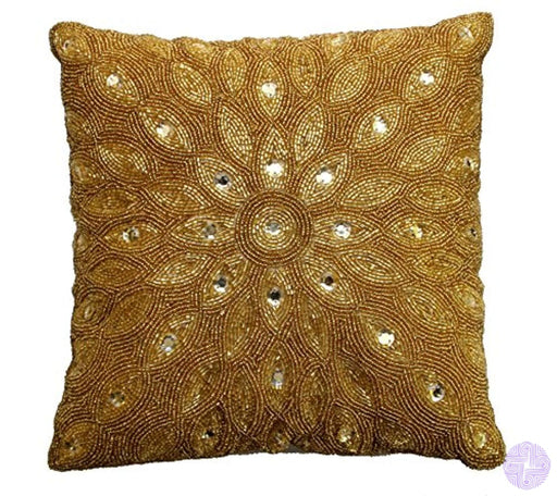 Cotton Craft - Peacock Hand Beaded Decorative Pillow 12X12 Square Gold Painstakingly And Lovingly