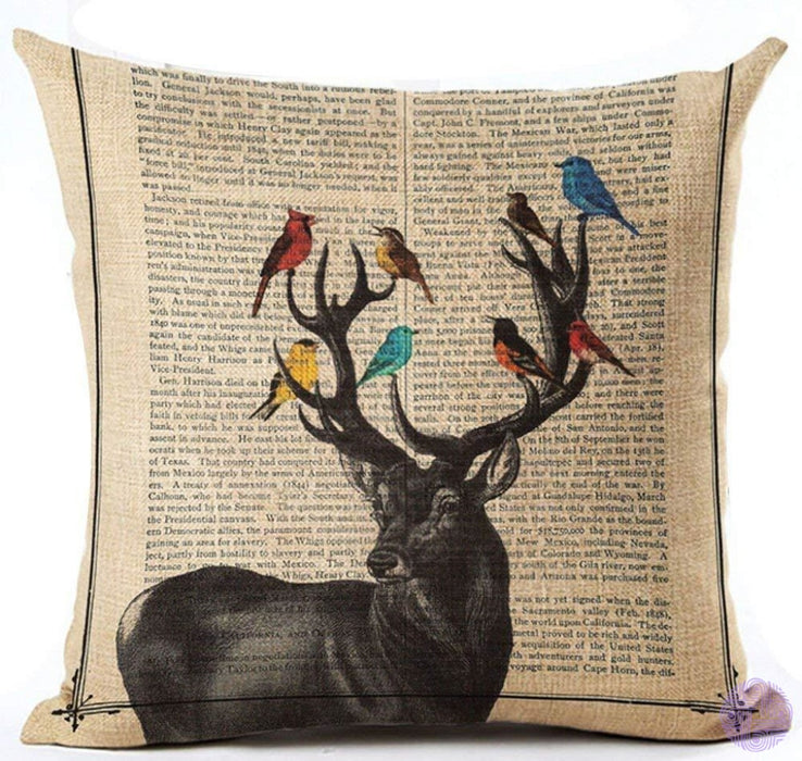 Cotton Linen Retro Book Page Illustration Black Sketch Birdcage And Colorful Birds Pillow Covers