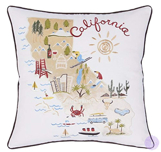 Decorhouzz Pillow Covers State/city Map Pillowcase Embroidered Cushion Cover Birthday Gift