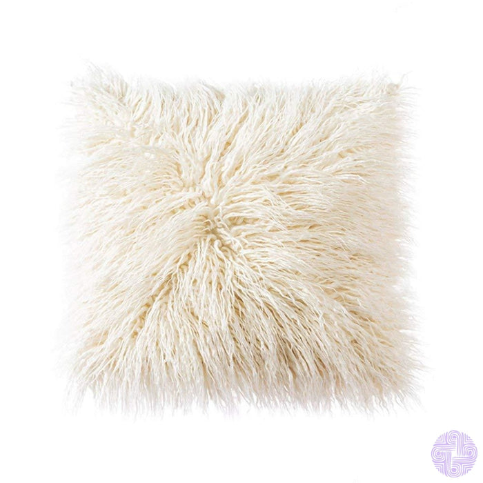 Deluxe Faux Fur Throw Pillow Covers 12 X 20 Inch / Beige