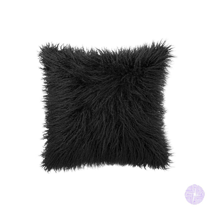 Deluxe Faux Fur Throw Pillow Covers 12 X 20 Inch / Black