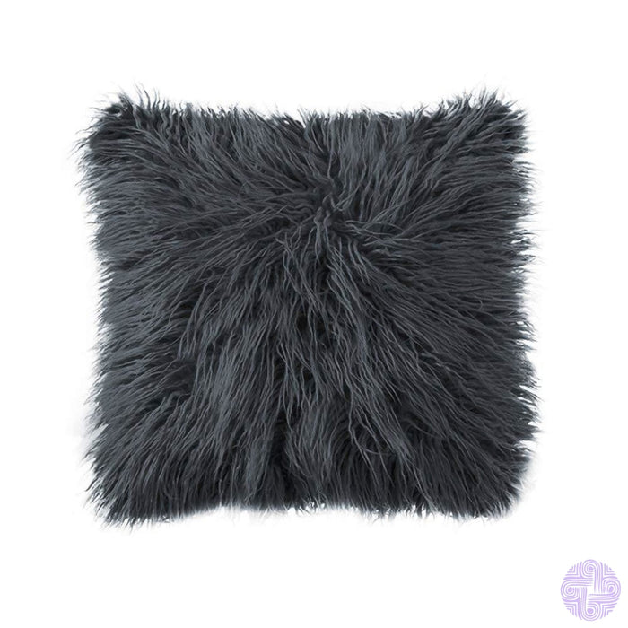 Deluxe Faux Fur Throw Pillow Covers 12 X 20 Inch / Dark Grey