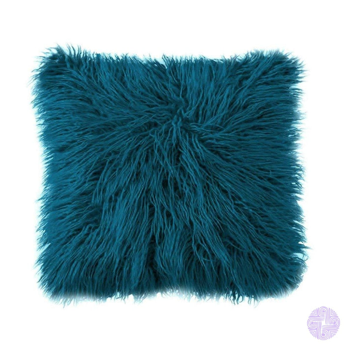 Deluxe Faux Fur Throw Pillow Covers 12 X 20 Inch / Drak Blue