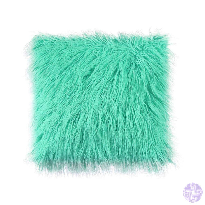 Deluxe Faux Fur Throw Pillow Covers 12 X 20 Inch / Green