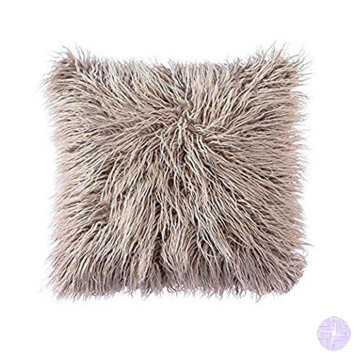 Deluxe Faux Fur Throw Pillow Covers 12 X 20 Inch / Light Coffee