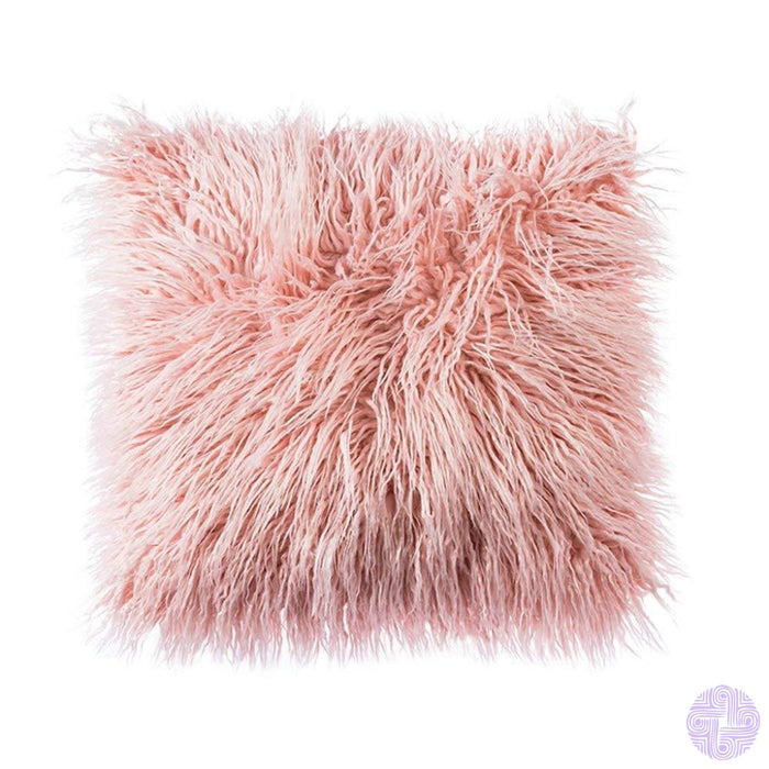 Deluxe Faux Fur Throw Pillow Covers 12 X 20 Inch / Pink