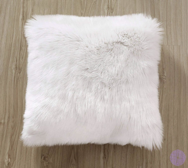 Deluxe Faux Fur Throw Pillow Covers 12 X 20 Inch / White