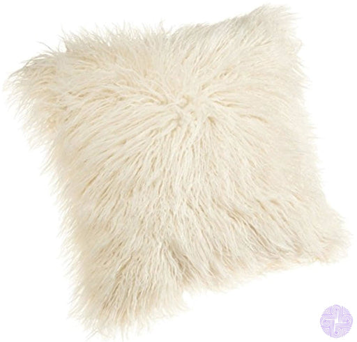 Dikoaina Mongolian Faux Fur Pillow Cover Cushion Case Natural Color (1 18X18)