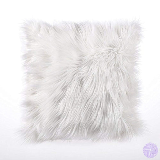 Dreamaker Luxury Soft Faux Fur Fleece Cushion Cover Pillowcase Pillow Sham White 18X18 (2 White)