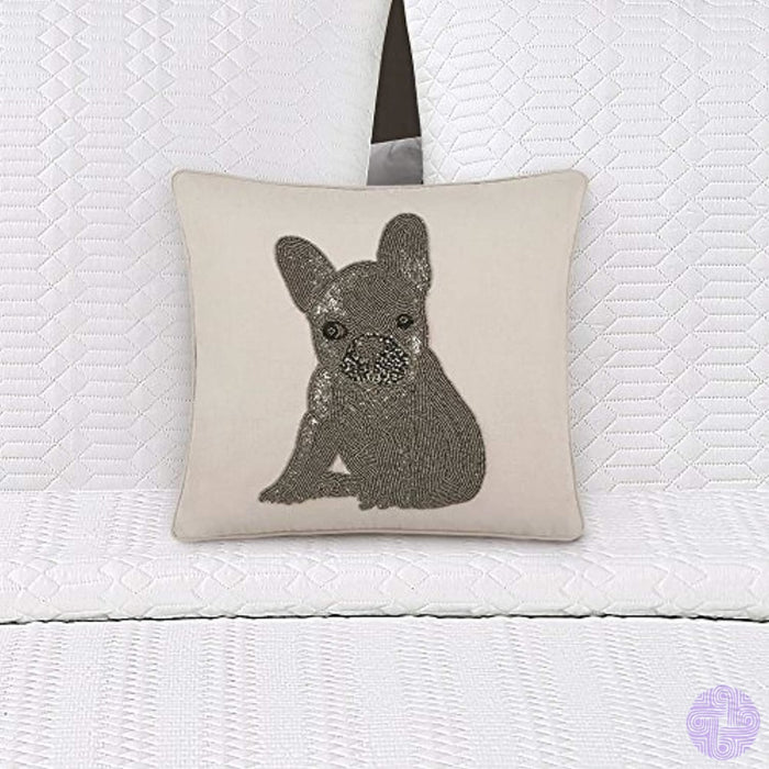 Echelon Home Beaded French Bulldog Pillow Linen/cotton 18 X Beige