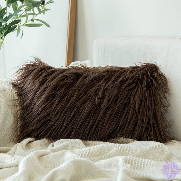 Faux Fur Throw Pillow Cover - Variety Of Sizes And Colors 12X20 / Chocolate