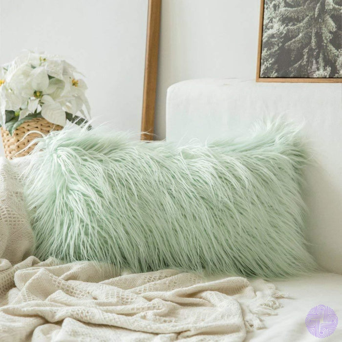 Faux Fur Throw Pillow Cover - Variety Of Sizes And Colors 12X20 / Green