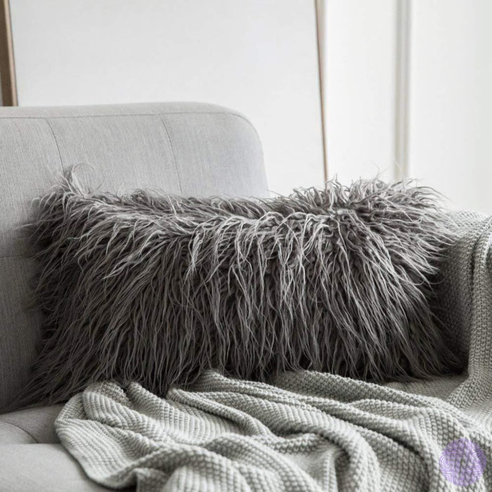 Faux Fur Throw Pillow Cover - Variety Of Sizes And Colors 12X20 / Grey