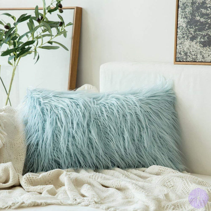 Faux Fur Throw Pillow Cover - Variety Of Sizes And Colors 12X20 / Light Blue