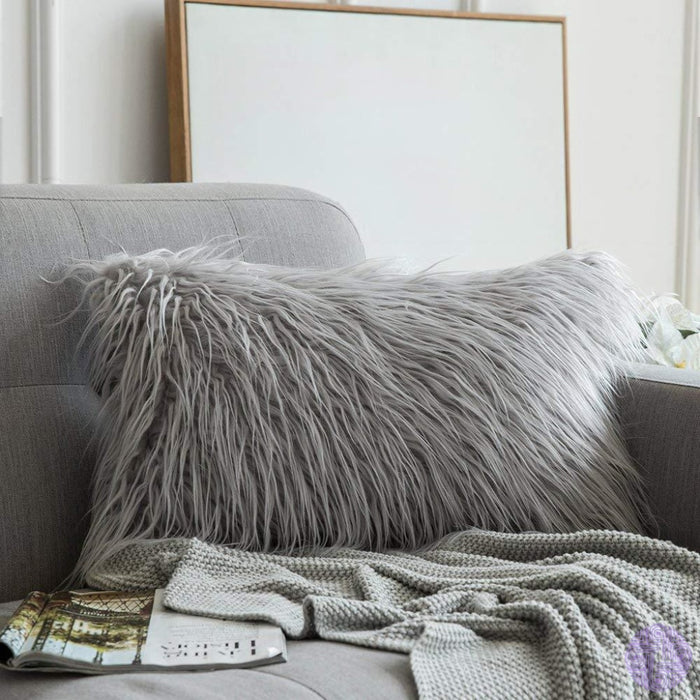 Faux Fur Throw Pillow Cover - Variety Of Sizes And Colors 12X20 / Light Grey