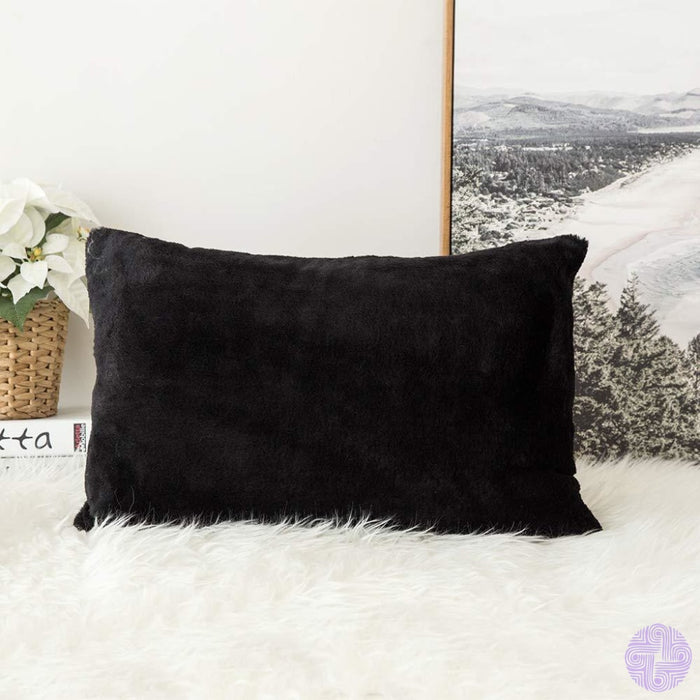 Faux Fur Throw Pillow Cover - Variety Of Sizes And Colors 12X20 / Rabbit Black