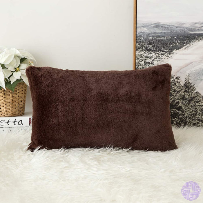 Faux Fur Throw Pillow Cover - Variety Of Sizes And Colors 12X20 / Rabbit Chocolate
