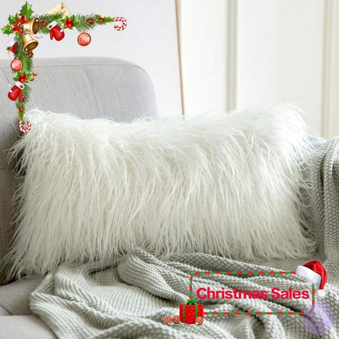 Faux Fur Throw Pillow Cover - Variety Of Sizes And Colors 12X20 / White