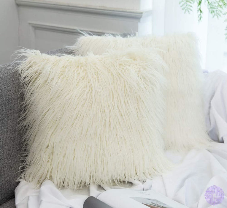 Faux Mongolian Fur Throw Pillow Cover 18X18 Inch / Ivory