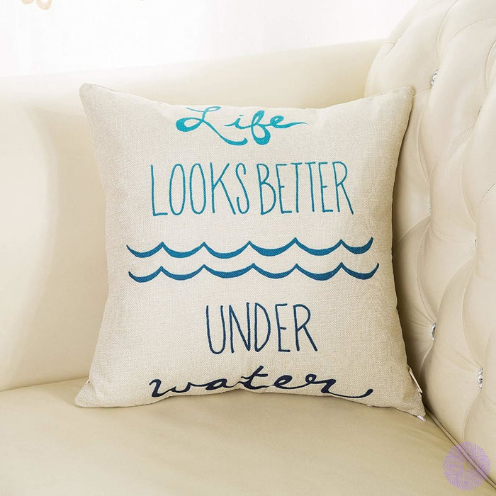 Fjfz Lifes A Beach Enjoy The Waves Funny Motivational Sign Inspirational Quote Cotton Linen Home