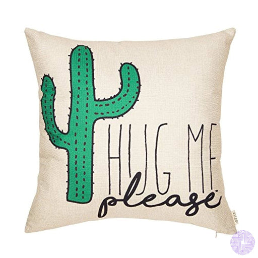 Fjfz Please Hug Me Cactus Funny Quote Cotton Linen Home Decorative Throw Pillow Case Cushion Cover