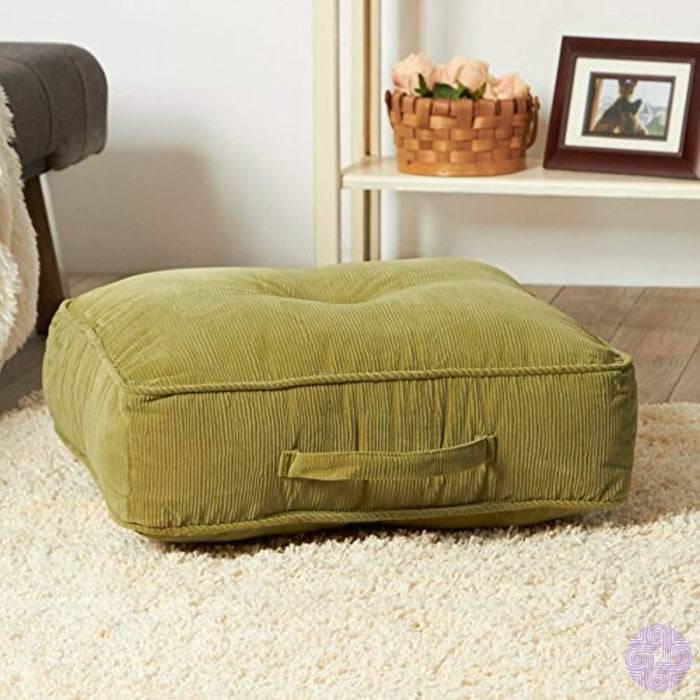 Greendale Home Fashions 20-Inch Square Floor Pillow Omaha/amigo Fabric Olive