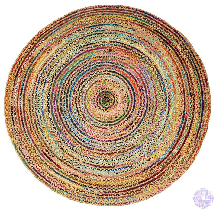 Handcrafted Chindi Inspired Braided Rugs And Floor Cushions Area Rug - 8 Feet Round