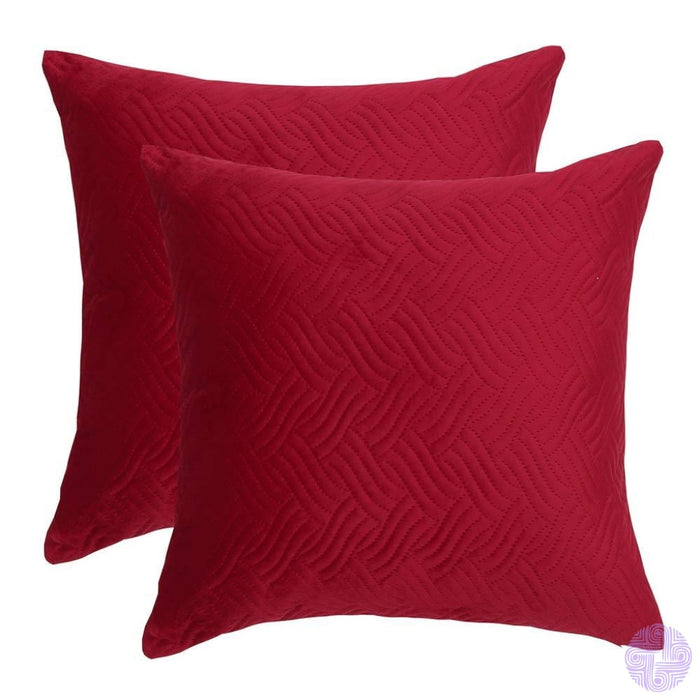 Herringbone Pattern Velvet Throw Pillow Covers Burgandy / 12X20 Inches