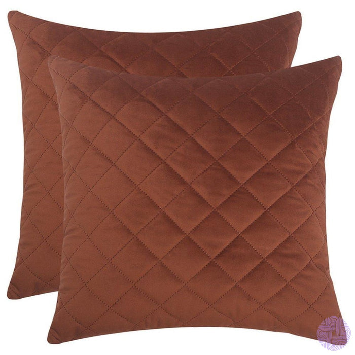 Herringbone Pattern Velvet Throw Pillow Covers Coffee / 12X20 Inches