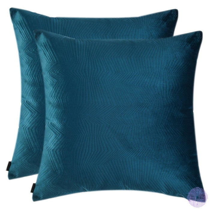 Herringbone Pattern Velvet Throw Pillow Covers Light Blue / 12X20 Inches