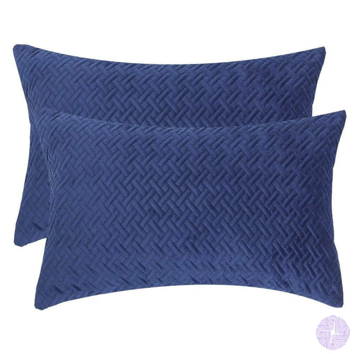 Herringbone Pattern Velvet Throw Pillow Covers Navy Blue / 12X20 Inches