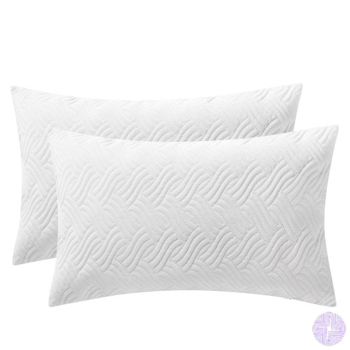 Herringbone Pattern Velvet Throw Pillow Covers White / 12X20 Inches