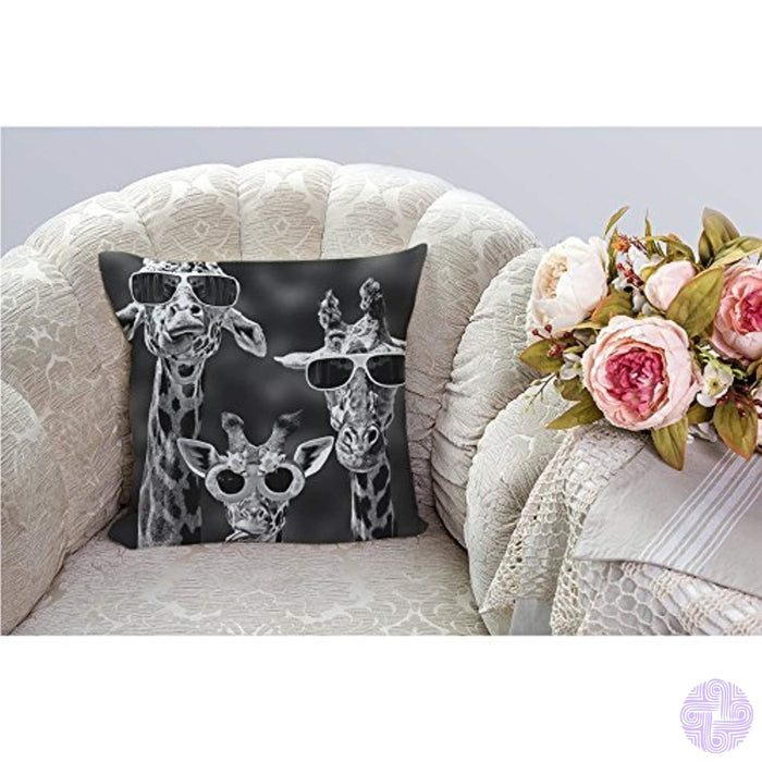 Hgod Designs Giraffe Sloth Throw Pillow Covers Decorative By Three Funny With Sunglass Cotton Linen