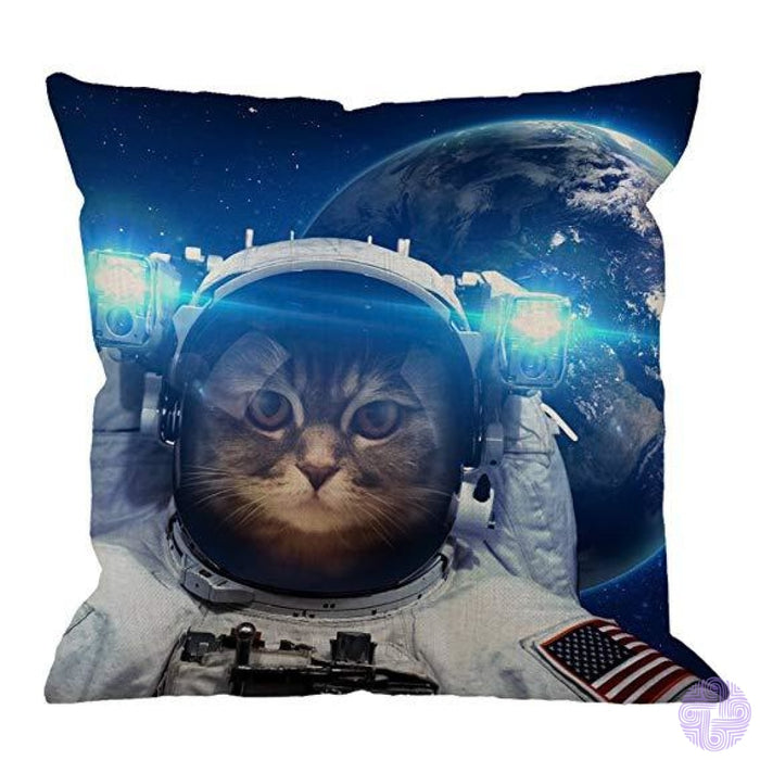 Humorous Animal Design Throw Pillow Covers Space Cat