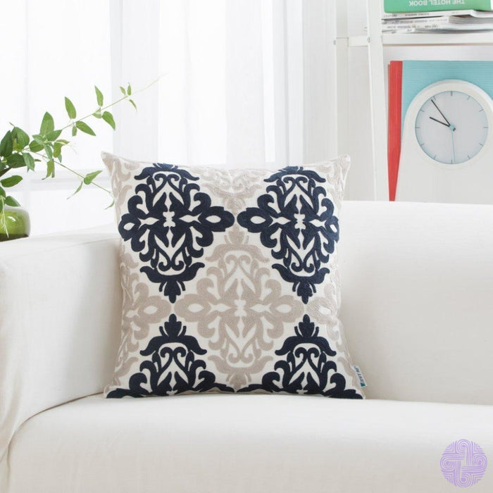 Hwy 50 Grey Throw Pillows Covers For Couch Sofa Bed 18 X Inch 1 Piece Cotton Embroidered Decorative