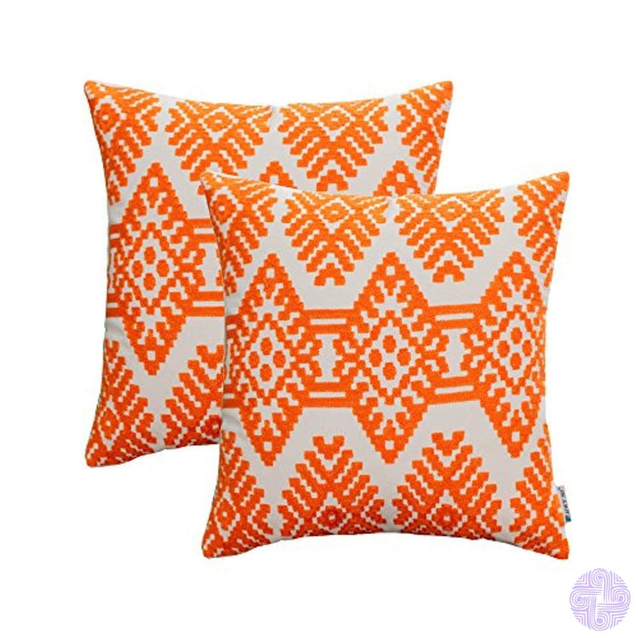 Hwy 50 Orange Embroidered Throw Pillows Covers For Couch Sofa Bed 18 X Inch Pack Of 2 Cotton