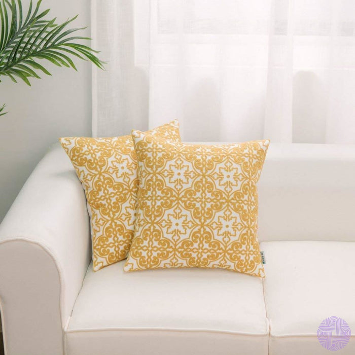 Hwy 50 Pack Of 2 Yellow Embroidered Throw Pillows Covers For Couch Sofa 18 X Inch Cotton Decorative