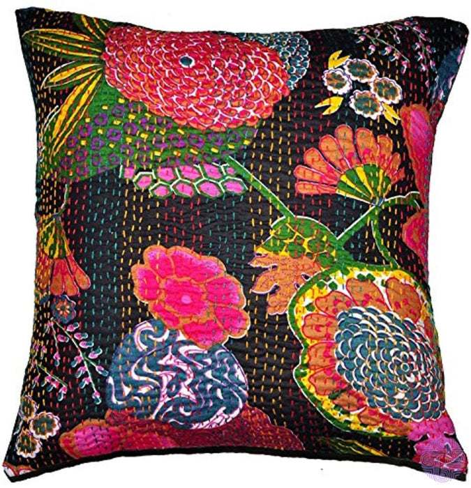 Indian Black Embroidered Handmade Decorative Kantha Pillow -Home Decor Boho Shame Cotton Cushion
