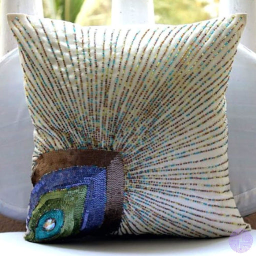 Ivory Accent Pillows Peacock Feather Sequins And Beaded Cover 16X16 Decorative Pillow Covers Square