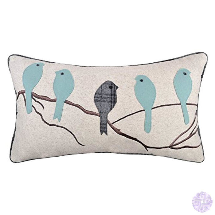 Jw Christmas Gifts Birds Accent Pillow Cases Applique Hand Emoboidery Cushion Covers Home Sofa Car