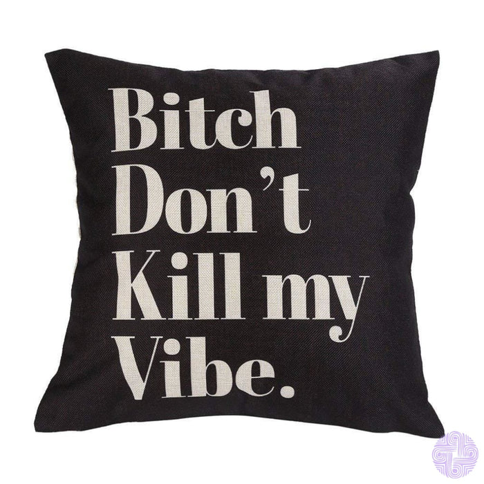 Leioh Decorative Cotton Linen Square Funny Printed Bitch Pattern Throw Pillow Case Cushion Cover 18